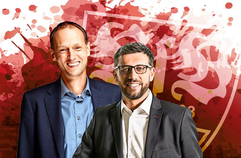 Christian Riethmüller (links) und Claus Vogt: Einer der beiden wird der kommende VfB-Präsident. Foto: red