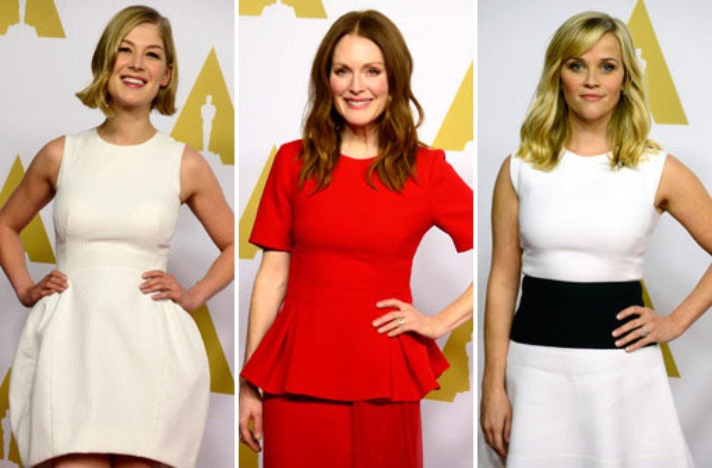 Damentrio beim Oscar-Luncheon: Rosamund Pike, Julianne Moore und Reese Witherspoon (von links) Foto: dpa