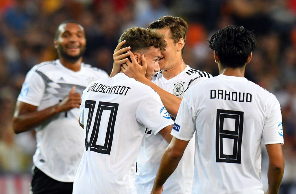 Top-Torjäger Luca Waldschmidt hat Deutschland vor 9100 Zuschauern mit einem Traumtor in Führung gebracht (14. Minute). Foto: Getty Images
