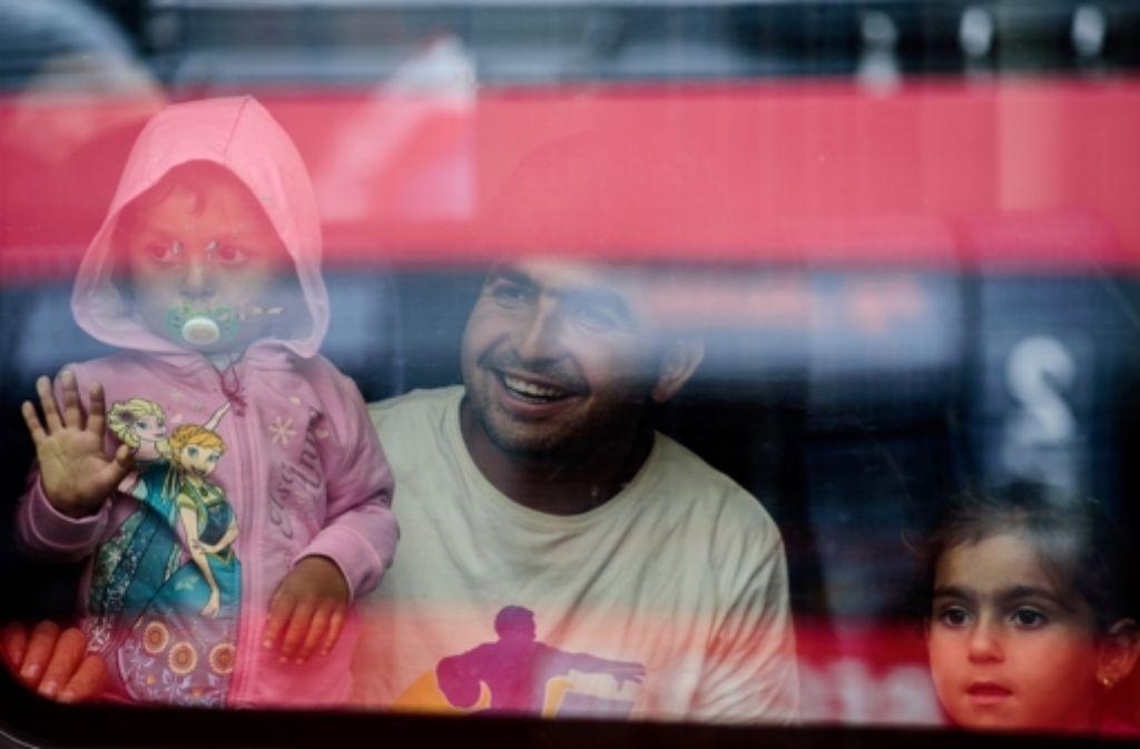 Ankunft in München: Flüchtlinge aus Ungarn am Hauptahnhof Foto: dpa