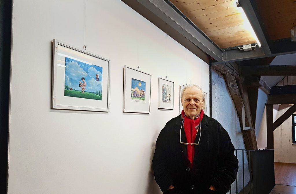 Bis 17. Februar stellt der Cartoonist Siegfried Wagner seine Werke in der Rechberghauser Kulturmühle aus. Foto: StZ