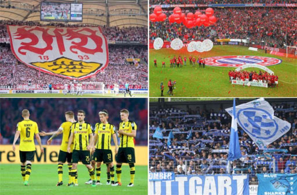 Nach 53 Jahren Bundesliga: Wo steht der VfB Stuttgart in der ewigen Tabelle, wo die Stuttgarter Kickers? Welche Teams haben die Roten und die Blauen überholt und welche der 53 Vereine gibt es nicht mehr? Diese und weitere Fragen beantworten wir in unserer Fotostrecke von Platz 54 bis Platz 1 - klicken Sie sich durch! Foto: dpa/Pressefoto Baumann/Getty/DU-Collage