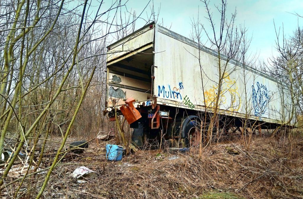 Der seit Jahren im Wald stehende  schrottreife Lastwagenanhänger ist sogar auf der Google-Satellitenaufnahme zu erkennen. Foto: privat