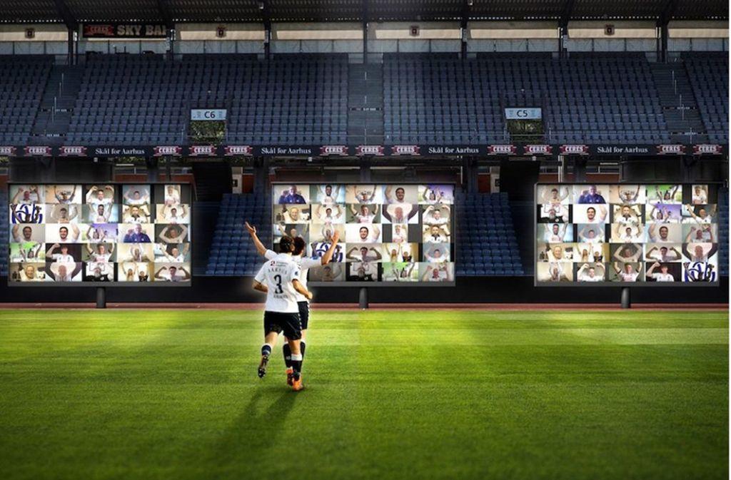 So könnte es aussehen, wenn die Zuschauer per Videokonferenz-Plattform Zoom zuschauen. Foto: Aarhus FC