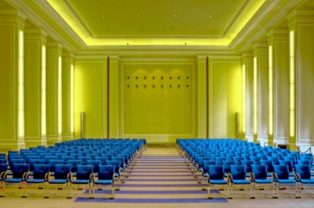 Der Matthias-Erzberger-Saal im Bundesfinanzministerium hat schon etliche historische Momente erlebt Foto: BMF