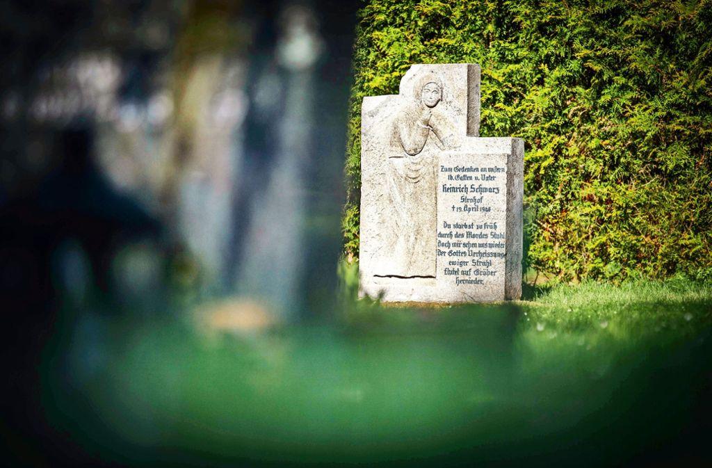 Der Gedenkstein für den ermordeten Heinrich Schwarz an seinem neuen Standort auf dem Alten Friedhof Welzheim Foto: Gottfried Stoppel