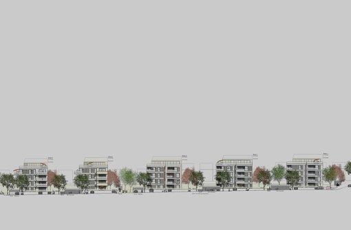 Im Gebiet Sonnenberg Süd-West wird  eine Zeile mit fünf  Mehrfamilienhäusern gebaut. Sie dürfen bis zu 16 Meter hoch werden. Foto: Wohnungsbau Ludwigsburg