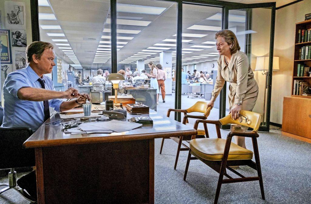 Ein Ringen um die richtige Entscheidung: Tom Hanks als Chefredakteur mit  Meryl Streep als Verlegerin Foto: Verleih