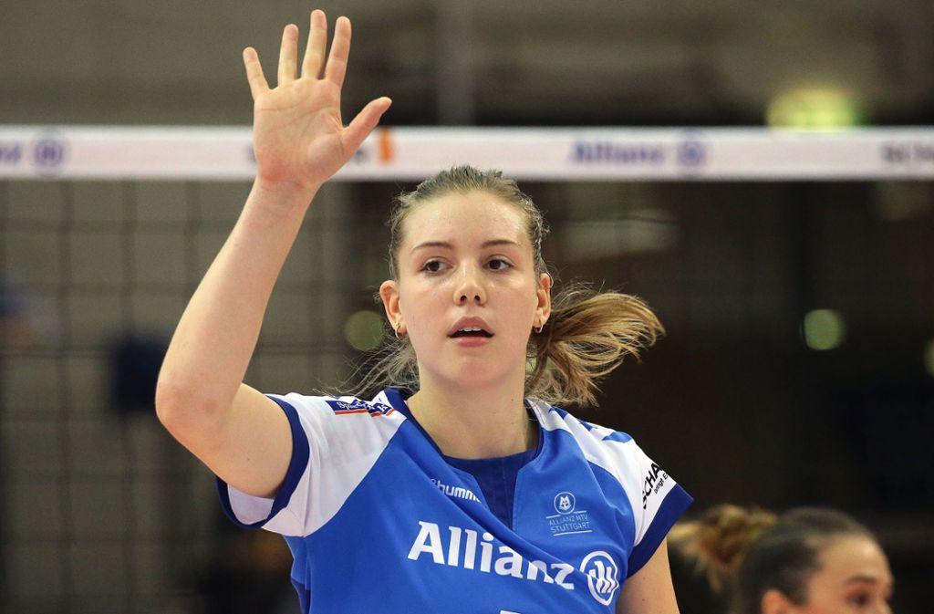Außenangreiferin Celine van Gestel wurde in Potsdam als beste Spielerin von Allianz MTV Stuttgart ausgezeichnet. Foto: Baumann