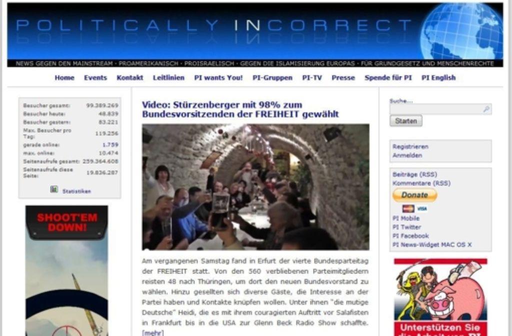 """Der Verfassungsschutz sieht einen fremdenfeindlichen Hintergrund bei der Internetseite """"Politically Incorrect"""". Foto: StZ"""