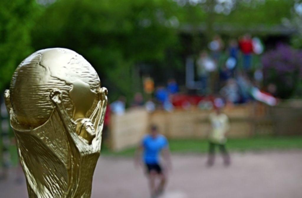 Die Replik des echten WM-Pokals wiegt dreieinhalb Kilo. Foto: Rüdiger Ott