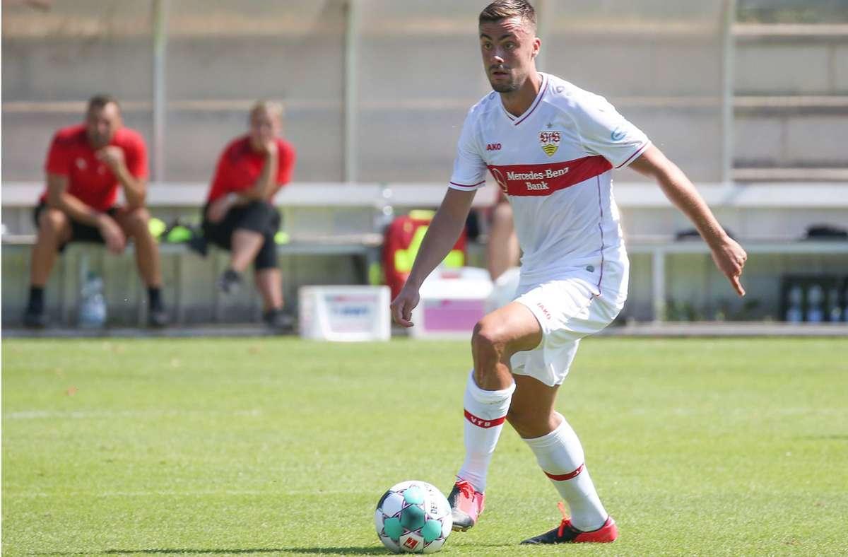 Philipp Förster zeigt viel Engagement und erzielt zwei Tore für den VfB II. Foto: