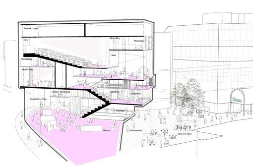 Skizze eines möglichen Film- und Medienhauses  mit Kinosaal am Eingang der Calwer Passage Foto: Studio2050
