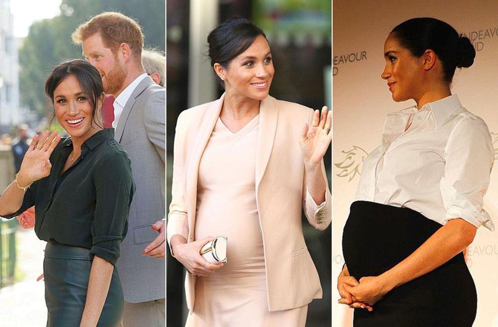Von kaum sichtbar zu gewaltig: So hat sich Herzogin Meghans Babybauch über die Monate verändert. Foto: AFP/dpa