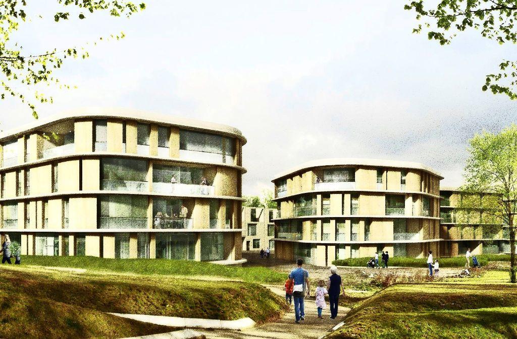 So soll künftig auf dem Areal Rote Wand gewohnt werden: Die Wolkenhäuser  sind Bestandteil des Siegerentwurfs Foto: ksg/Köln