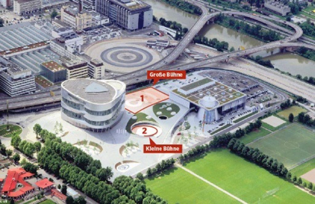 Die neue Open-Air-Spielfläche befindet sich zwischen Museum und Niederlassung, als zweite Bühne wird die bestehende Open-Air-Bühne genützt. Foto: Daimler AG/Grafik Oli