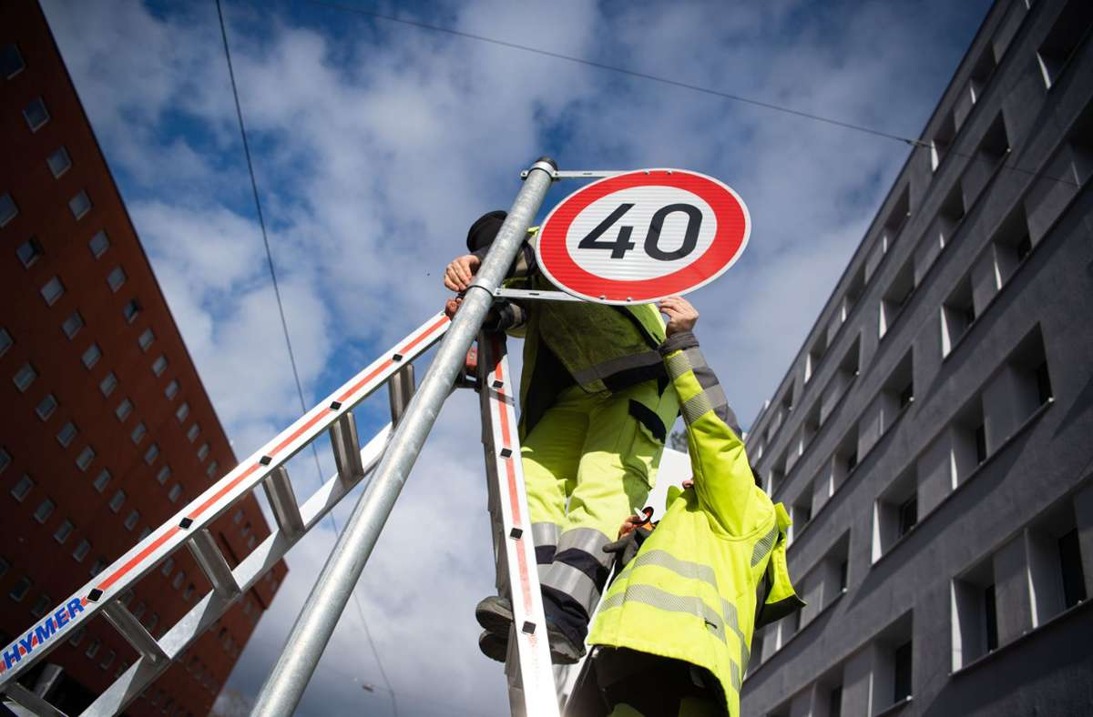 Tempo-40-Schild in der Stuttgarter Innenstadt Foto: dpa/Marijan Murat
