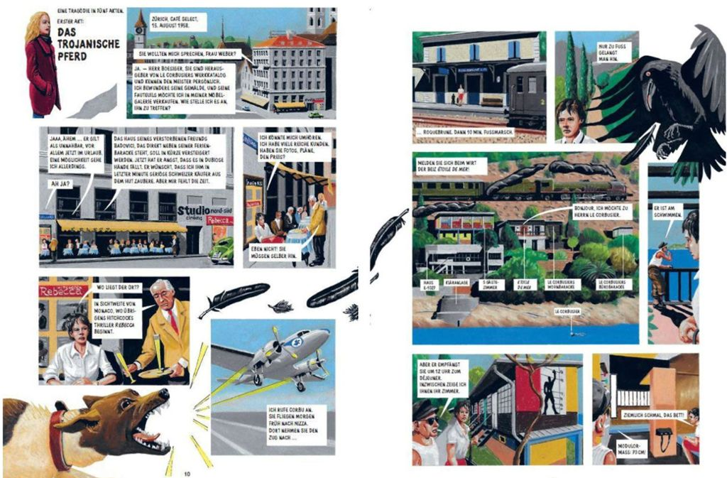 """Blick in den Le-Corbusier-Comic """"Der Pavillon"""": Ein Rabe beäugt das Geschehen. Foto: Edition Moderne"""