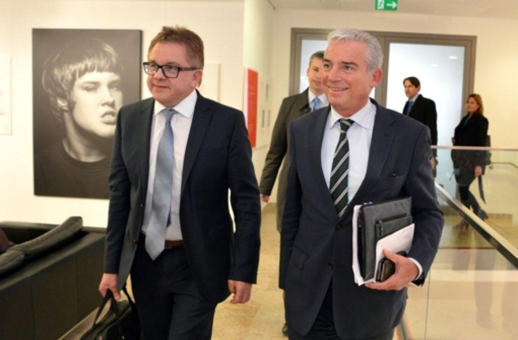 In Gesprächen mit den Grünen: Guido Wolf (links) und Thomas Strobl, beide CDU. Foto: dpa