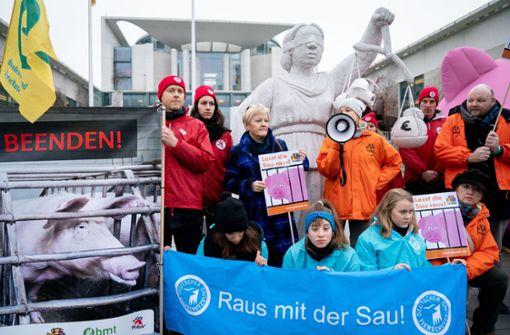 Bauern tragen Protestins Kanzleramt