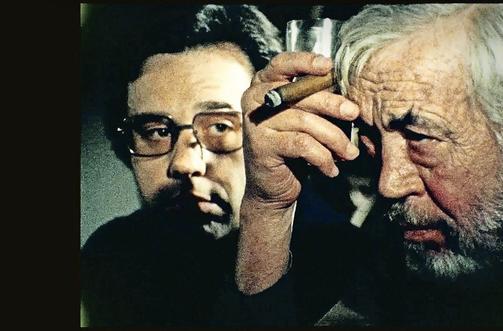 "John Huston als Regisseur, Peter Bogdanovich als sein Assistent in ""The other Side of the Wind"" Foto: Biennale"
