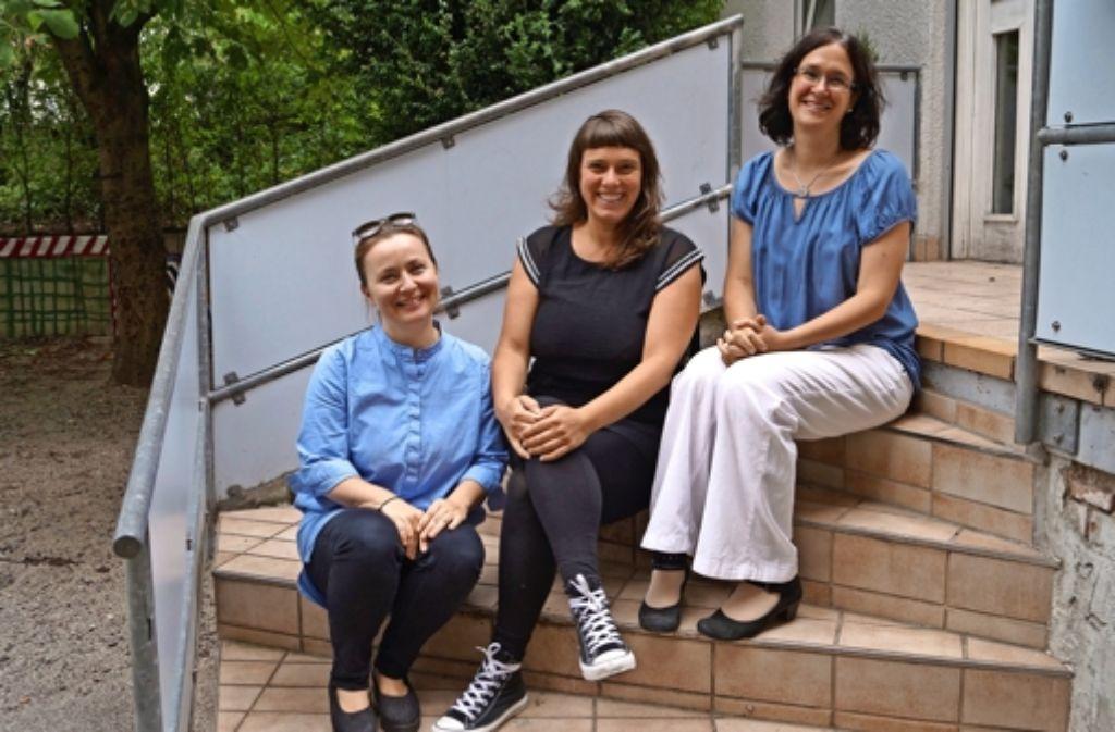 Alexandra Zivic, Corinne Birgel und Dorothea Wagner (von links) wollen unter anderem den Mittagstisch im FaZ            ausbauen. Foto: Fritzsche