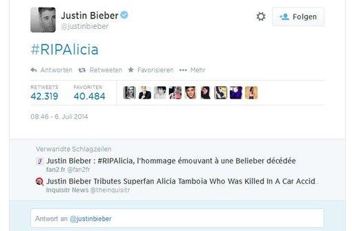 Justin Bieber trauert unter #ripalicia mit