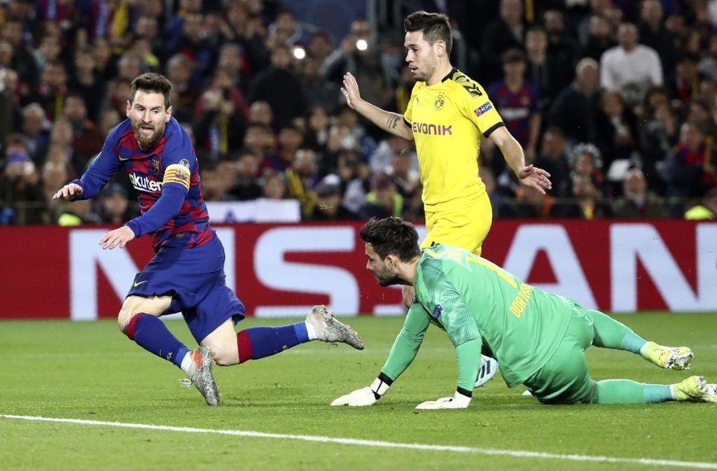 Lionel Messi wirbelte kräftig in der Hintermannschaft von Borussia Dortmund. Foto: AP/Emilio Morenatti