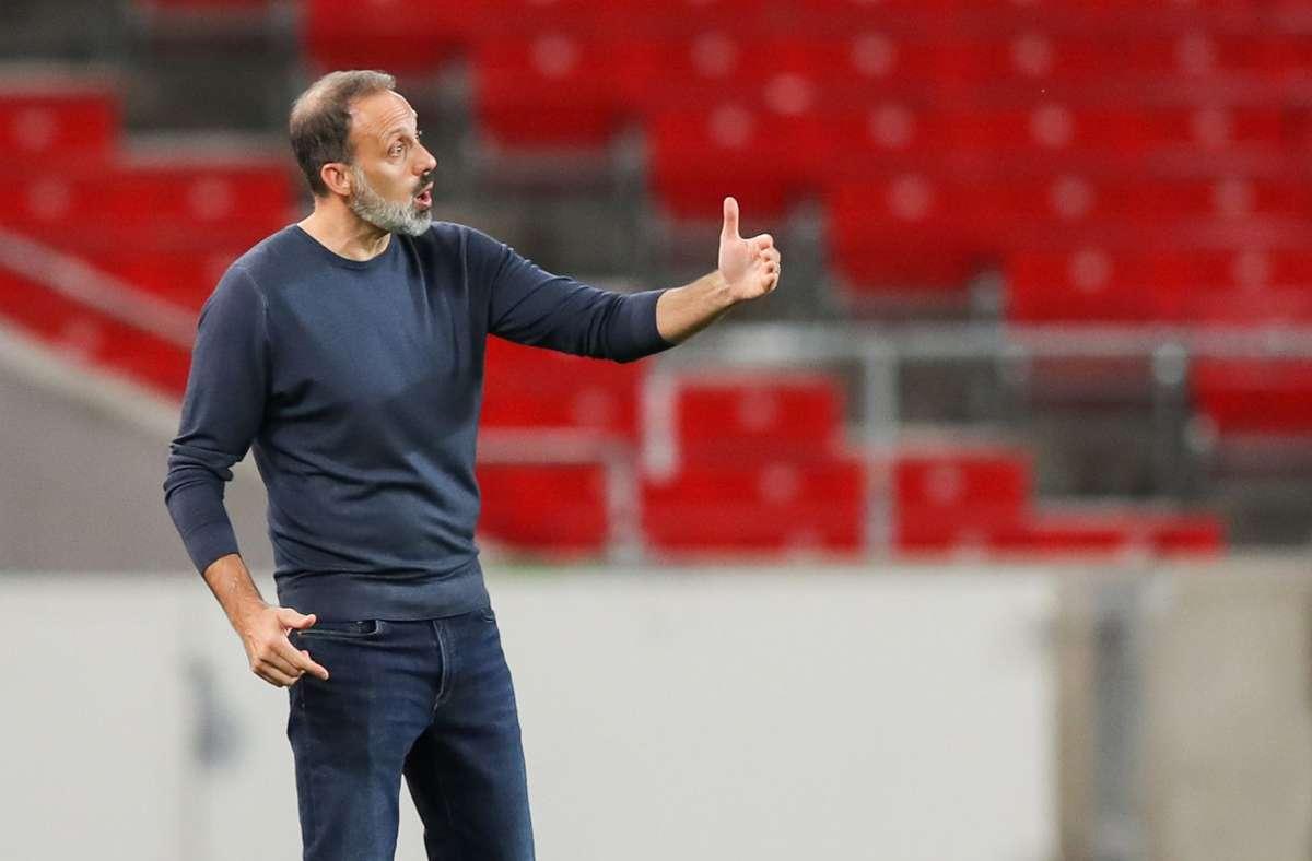 Pellegrino Matarazzo und der VfB Stuttgart haben gegen den 1. FC Köln remis gespielt. Foto: dpa/Tom Weller