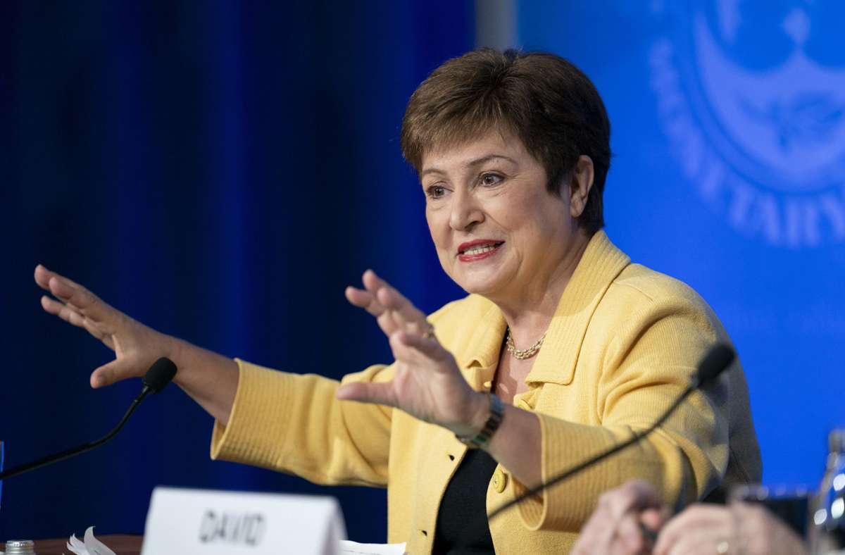 IWF-Chefin Kristalina Georgieva leitet die Diskussionen auf der Herbsttagung, die in diesem Jahr rein virtuell stattfindet. Foto: dpa/Liu Jie