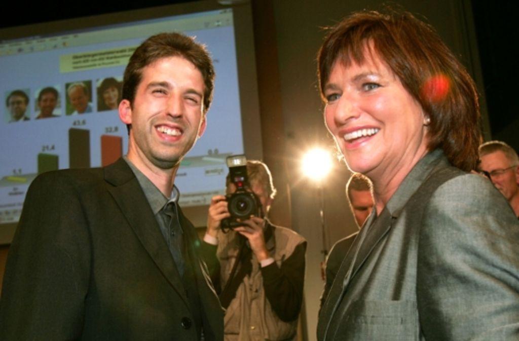 Für ein Kameralächeln reicht es noch: Ansonsten kamen sich Boris Palmer (Grüne, l.) und Foto: AP