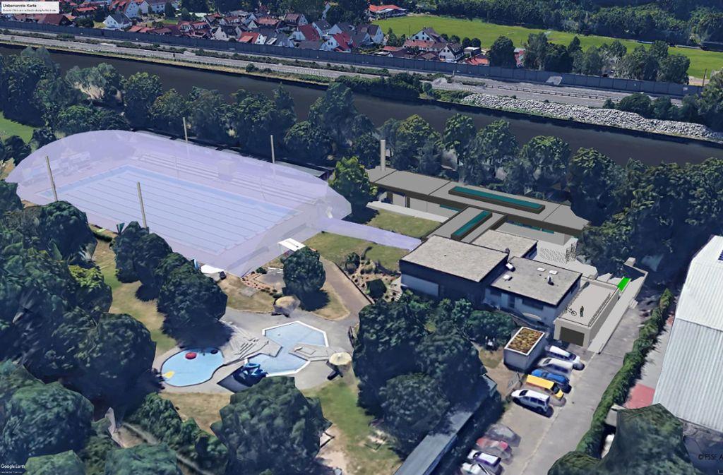 So soll die wintertaugliche Traglufthalle über dem Schwimmbecken einmal aussehen. Foto: Google Earth/Montage:FSSF Architekten