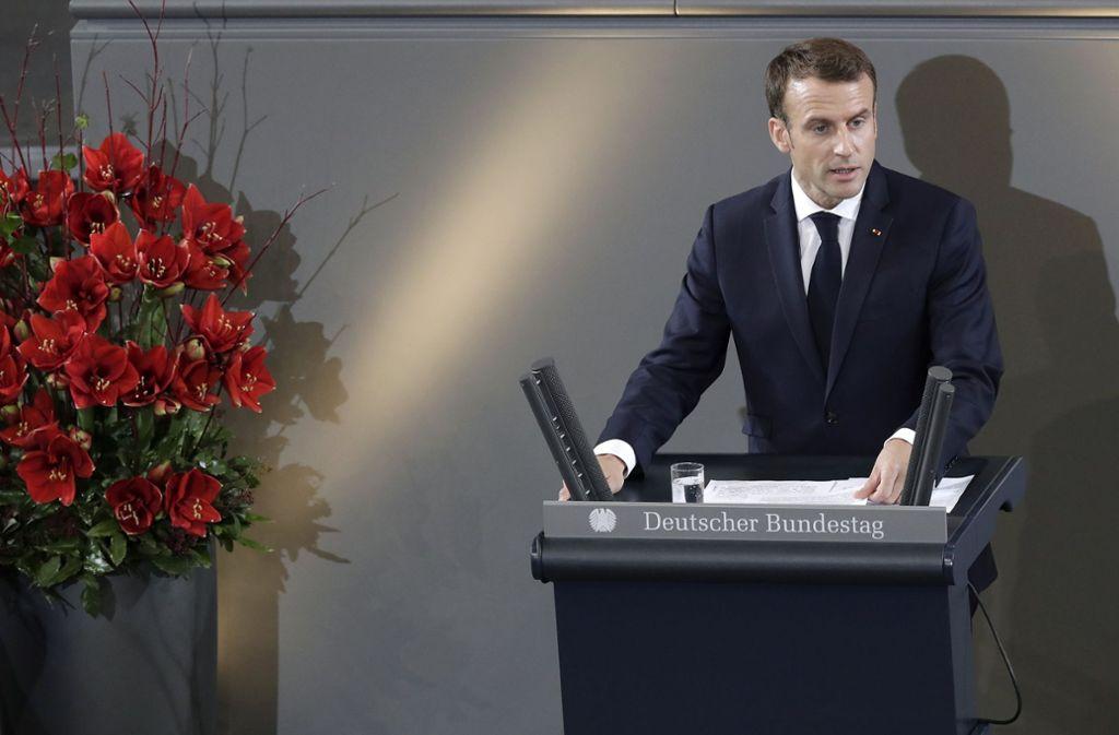 Der französische Präsident Emmanuel Macron hat am Sonntag im Bundestag gesprochen. Foto: AP