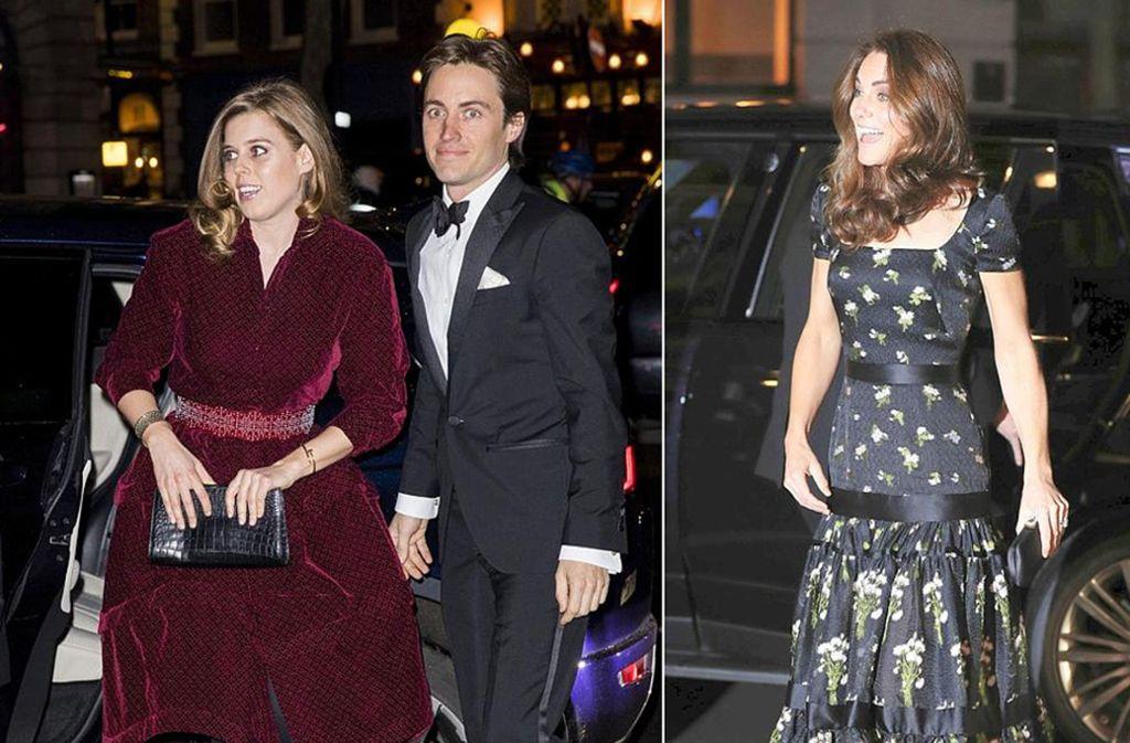 Royales Doppel: Prinzessin Beatrice mit ihrem Freund Edoardo Mapelli Mozzi und Herzogin Kate (rechts) bei der Gala der National Portrait Gallery. Foto: Getty Images/AP