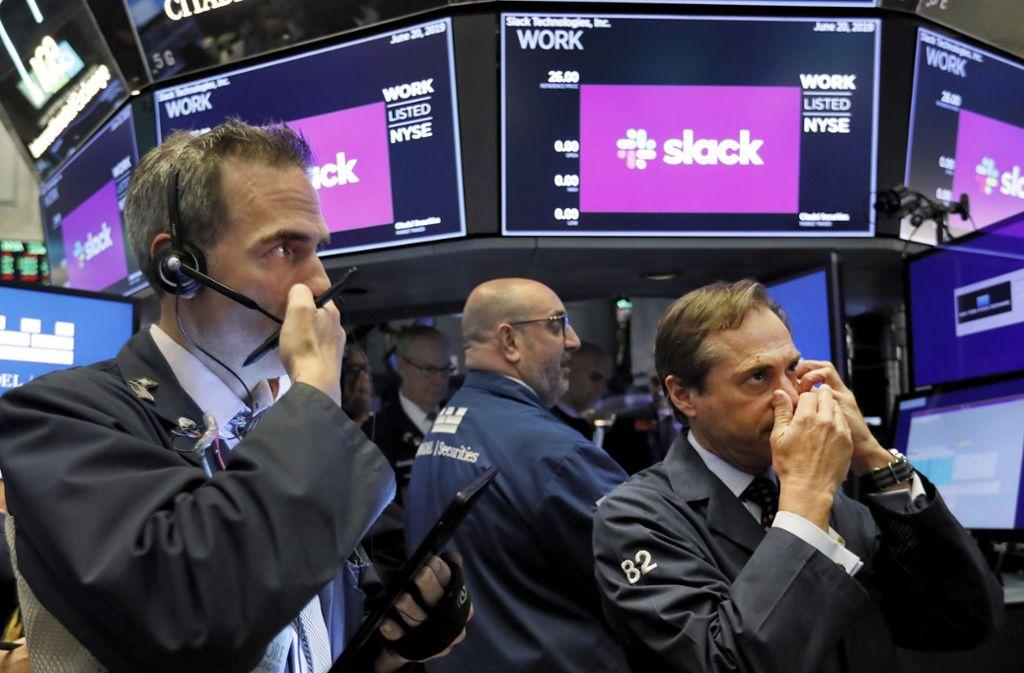 Der Börsenstart der Digitalfirma Slack in New York war vor kurzem sehr erfolgreich. Foto: dpa/Richard Drew
