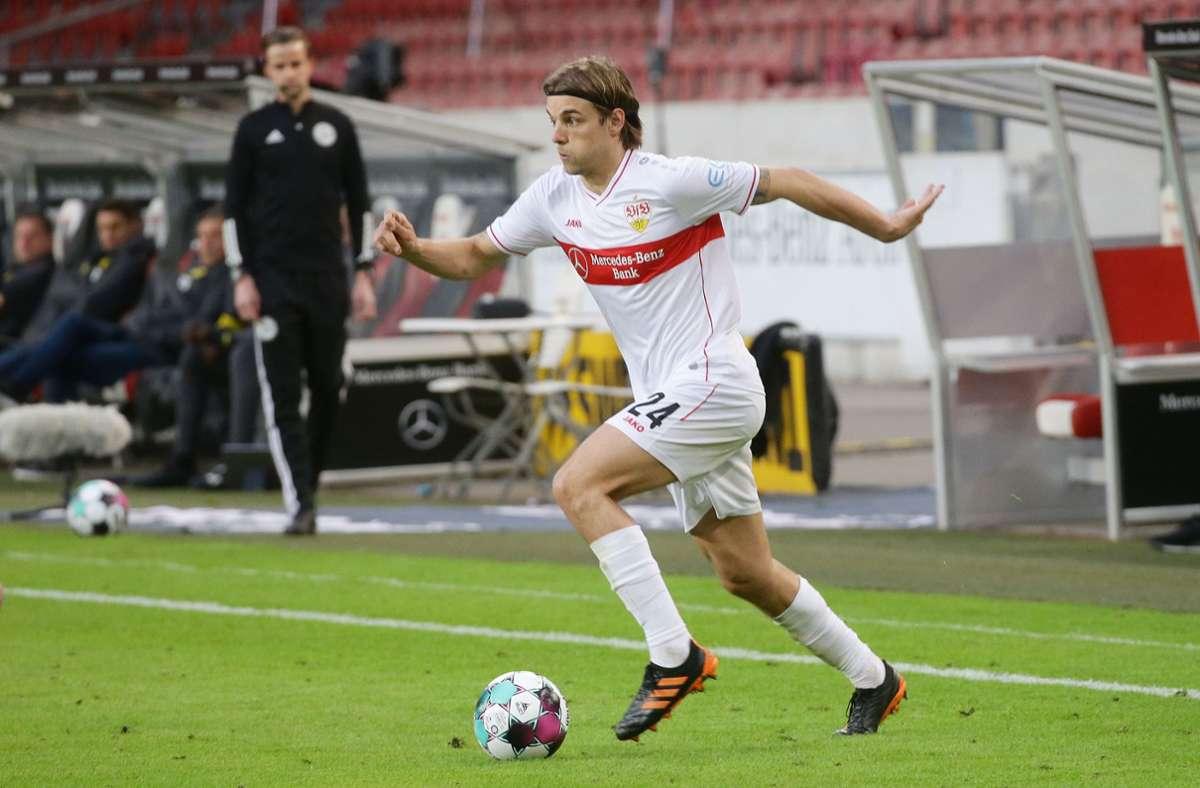 Borna Sosa macht über die linke Seite Dampf. Der 23-Jährige spielt nach längerer Anlaufzeit eine starke Saison für den VfB Stuttgart. Foto: Baumann