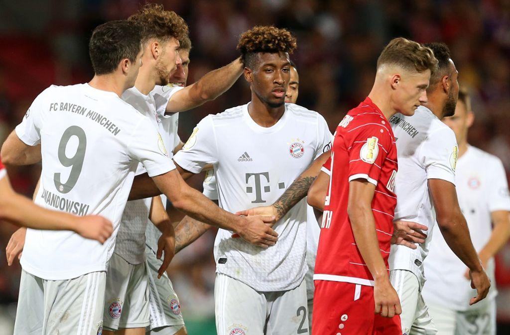Torschützen unter sich: Lewandowski, Goretzka und Coman erzielten (von links) trafen für die Bayern. Foto: Bongarts/Getty Images
