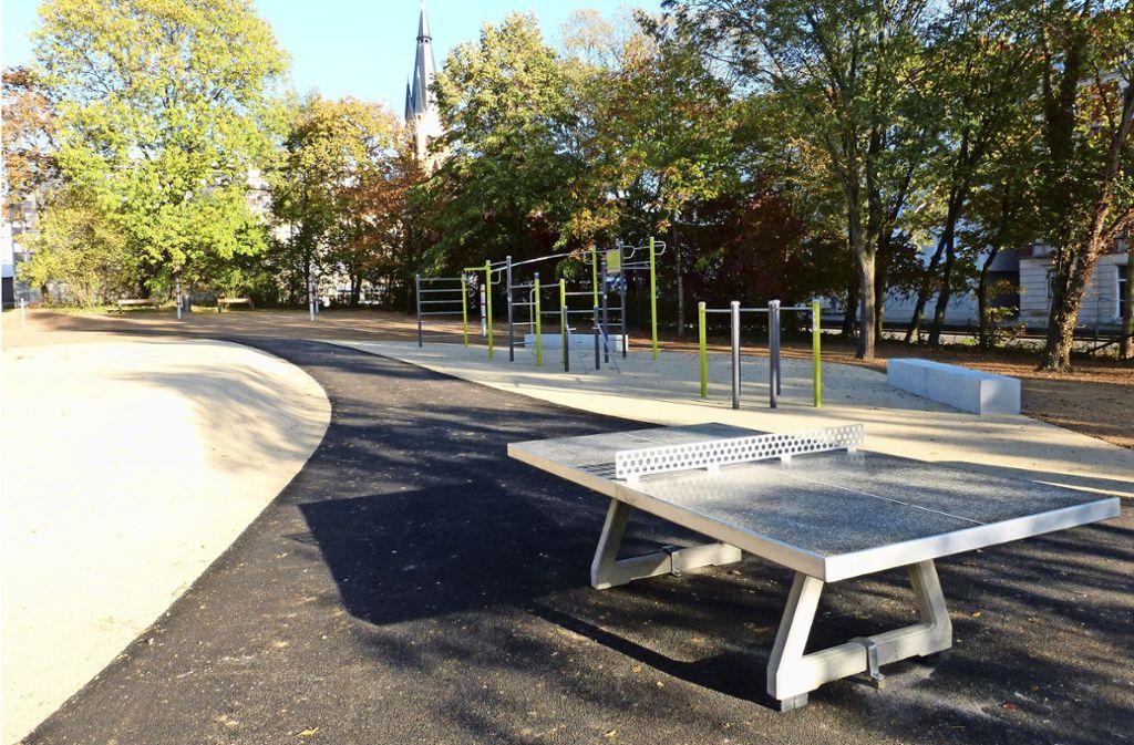 Im Veielschen Garten  wurden im vergangenen Jahr neben Spielmöglichkeiten auch Fitnessgeräte  errichtet, an denen Jugendliche Sport treiben können. Foto: Sebastian Gall