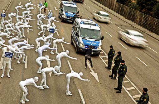 Demonstranten machen sich für blaue Plakette stark