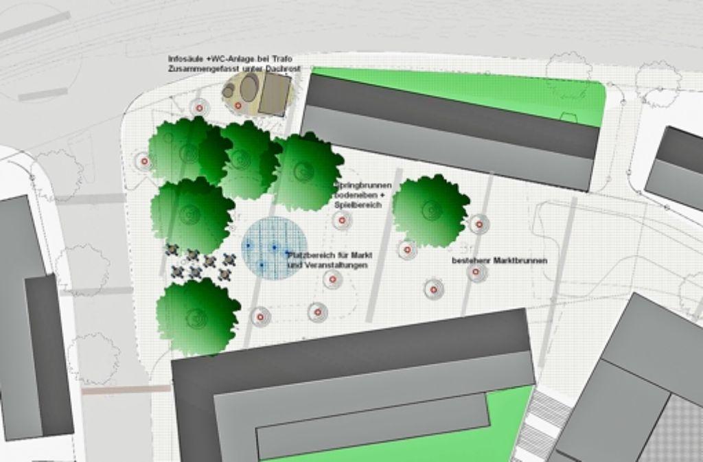 Die Bäume, die sich in dem Entwurf  unten links und oben rechts befinden, sollen laut den Botnanger Bezirksbeiräten Foto: Amt für Stadtplanung und Stadterneuerung (z)