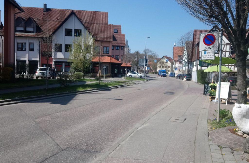 So sah die Gebersheimer Ortsdurchfahrt vor der Sanierung aus. Foto: Stadt Leonberg