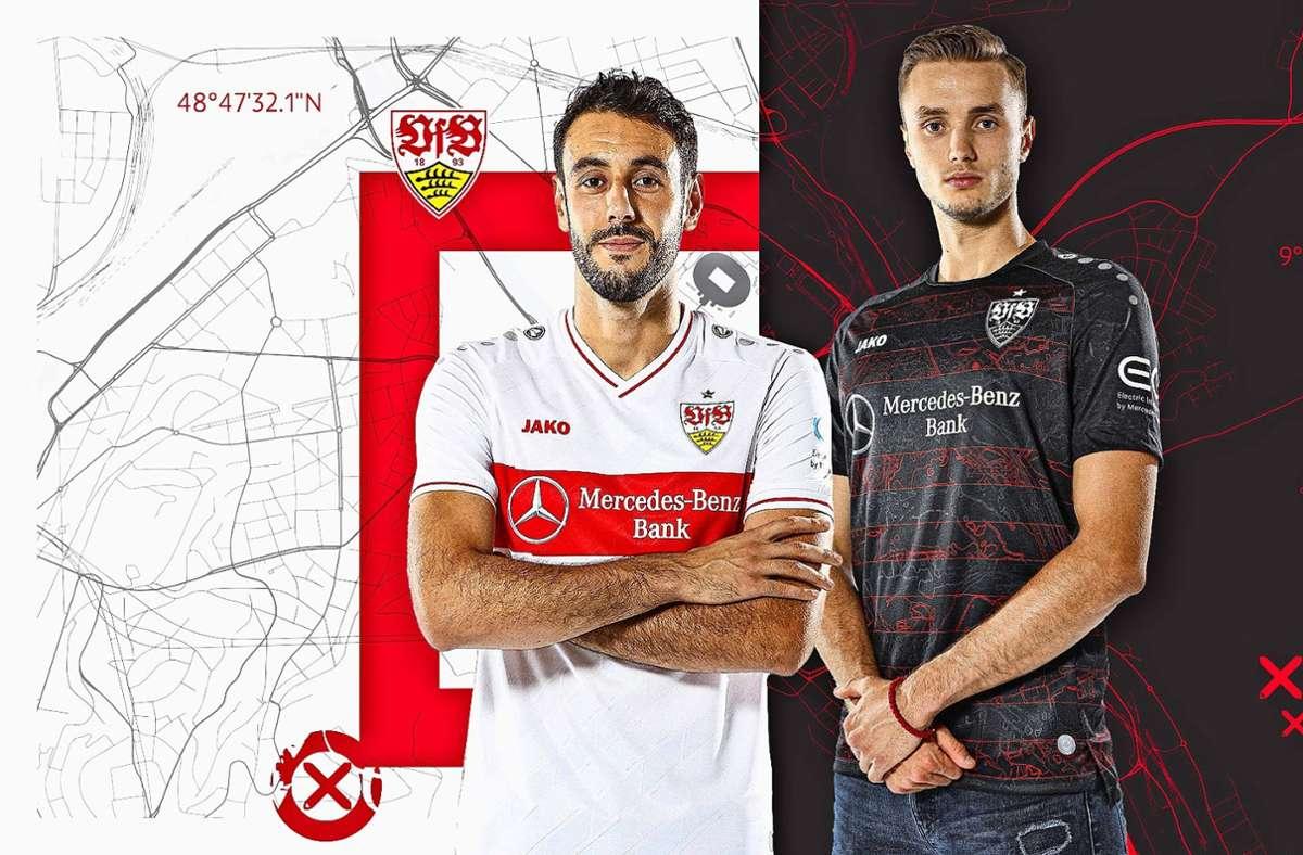 Hamadi Al Ghaddioui im neuen weißen Heim-, Sasa Kalajdzic im schwarz-roten Auswärtstrikot. Foto: VfB