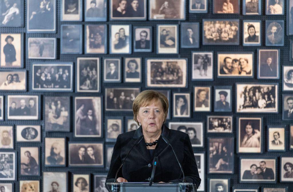 Bundeskanzlerin Merkel  spricht in Auschwitz Foto: dpa/Robert Michael