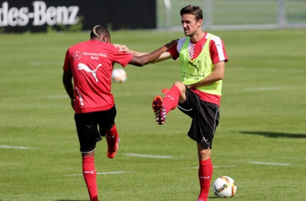 Sind beide für das Hoffenheimspiel fraglich: VfB-Mittelfeldmänner Serey Dié (links) und Christian Gentner. Foto: Pressefoto Baumann