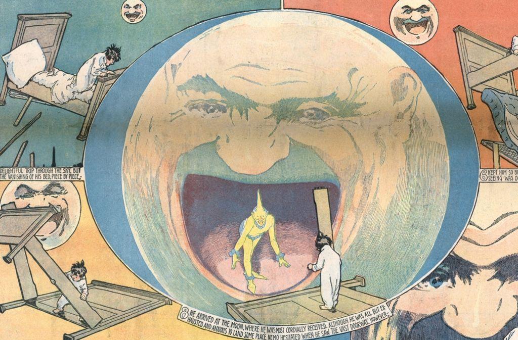"""Mit """"Little Nemo in Slumberland"""" entführt Zeichner Winsor McCay seine Leser ab 1905 jeden Sonntag in eine surrealistische Traumwelt. Foto: Schirn"""