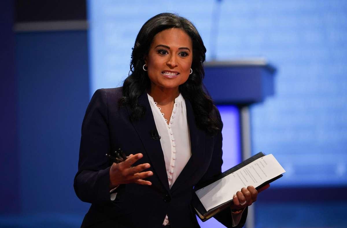 Die NBC-Korrespondentin Kristen Welker gab bei dem TV-Duell die Zügel nicht aus der Hand. Foto: AFP/BRENDAN SMIALOWSKI