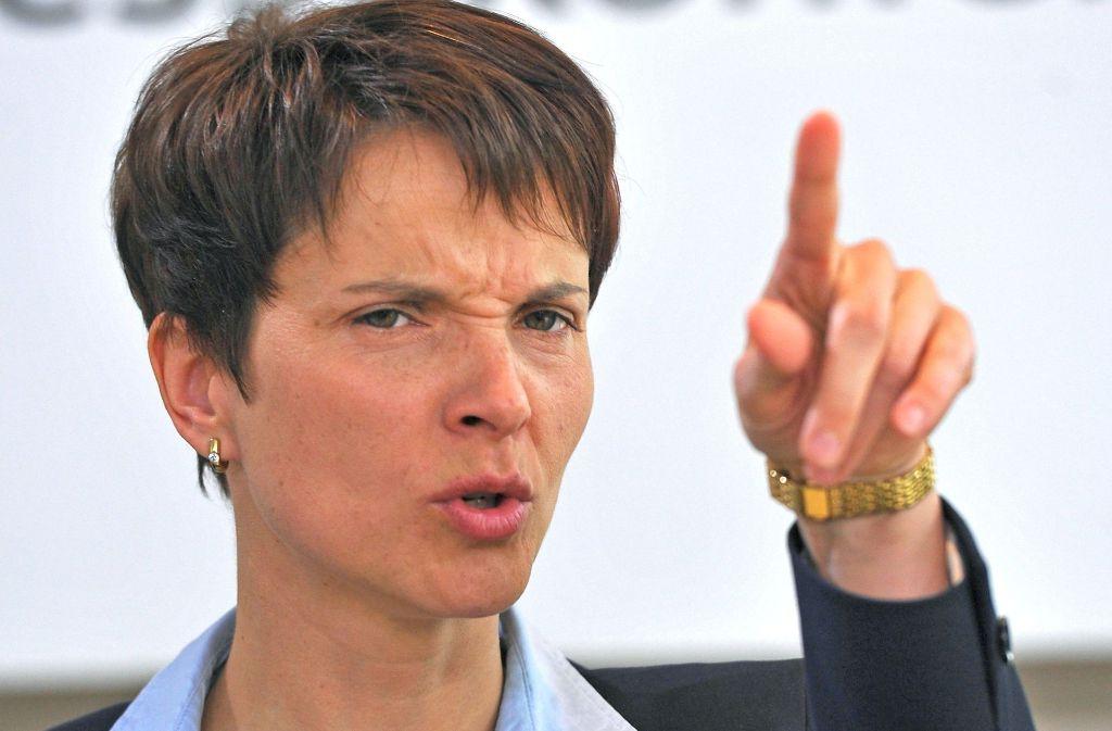 Frauke Petry (AfD) hat da mal eine Frage – leider nicht nur eine, sondern Hunderte. Foto: dpa