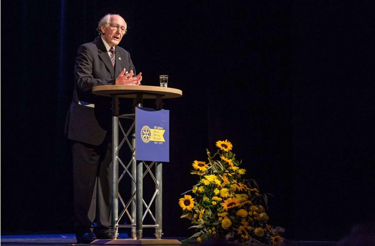 Jürgen Kruse-Jarres, Vorsitzender der Rotary-Stiftung, hier beim 50-Jahr-Jubiläum der Stiftung 2017. Foto: Lichtgut/Julian Rettig