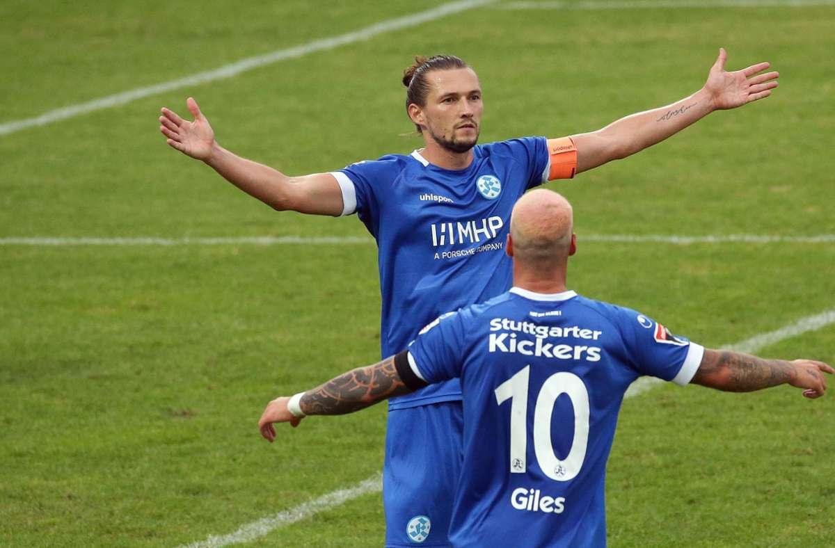 Die Stuttgarter Kickers wollen den dritten Sieg in Serie landen – Gegner am Wochenende ist die Neckarsulmer Sport Union. Foto: Baumann
