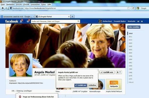 Auf Facebook  sammelt nicht nur die Kanzlerin Zustimmung. Foto: StZ